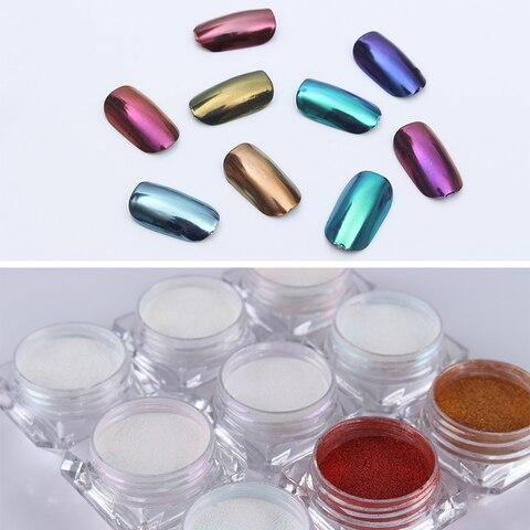 3 Boxes Mirror Powder Set Nail Art Chrome Pigment Dust Shell DIY Glitter Manicure Blue Purple Decor Tips Karachi