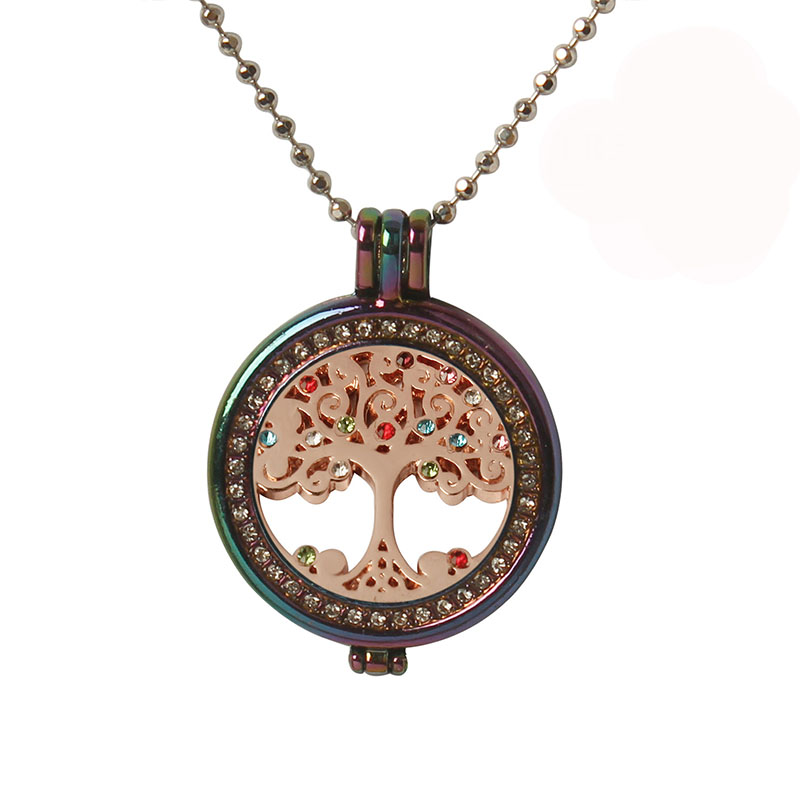 My coin <font><b>colorful</b></font> rhinestone tree of <font><b>life</b></font> necklace <font><b>full</b></font> of creative necklace women personality beautiful photo box long necklace