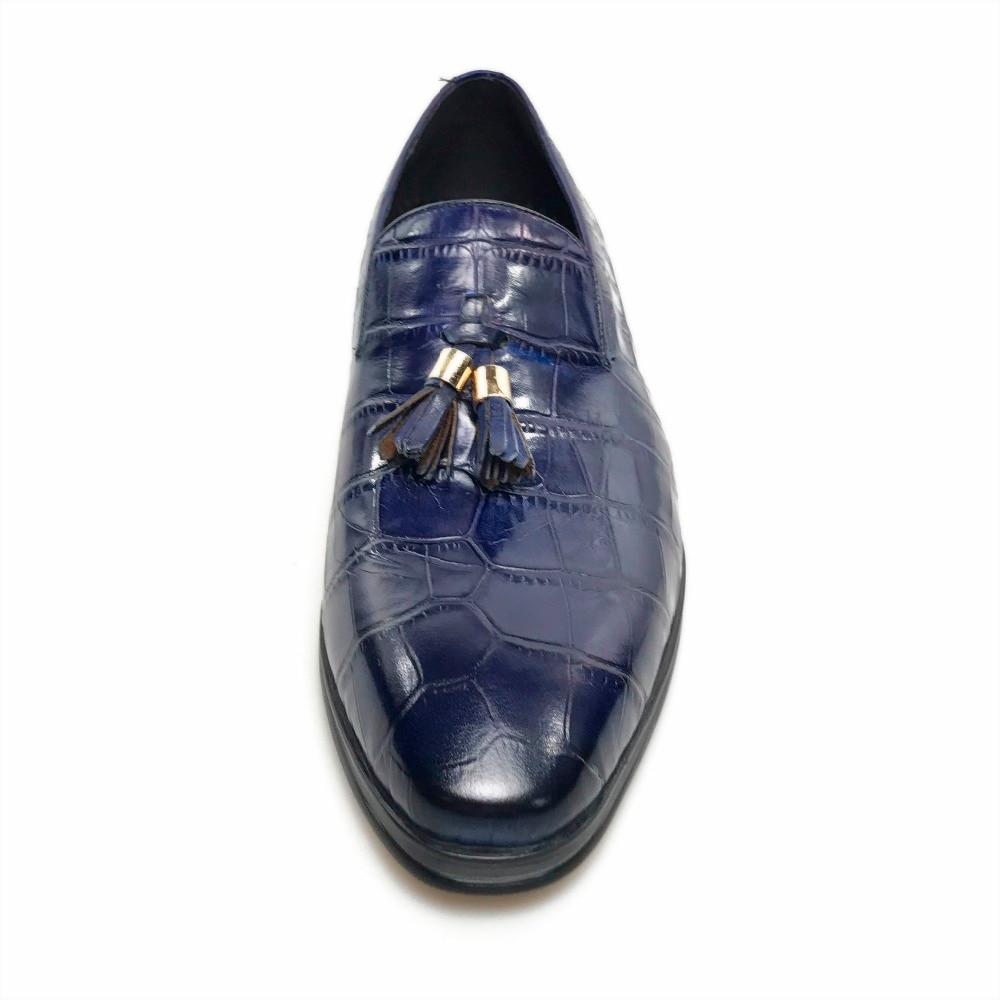 Grimentin Para Deslizamiento Cuero Azul Borla En Zapatos Italiano Marcas 2019 Negocios Hombre De Genuino Blue Yx5wqYr8