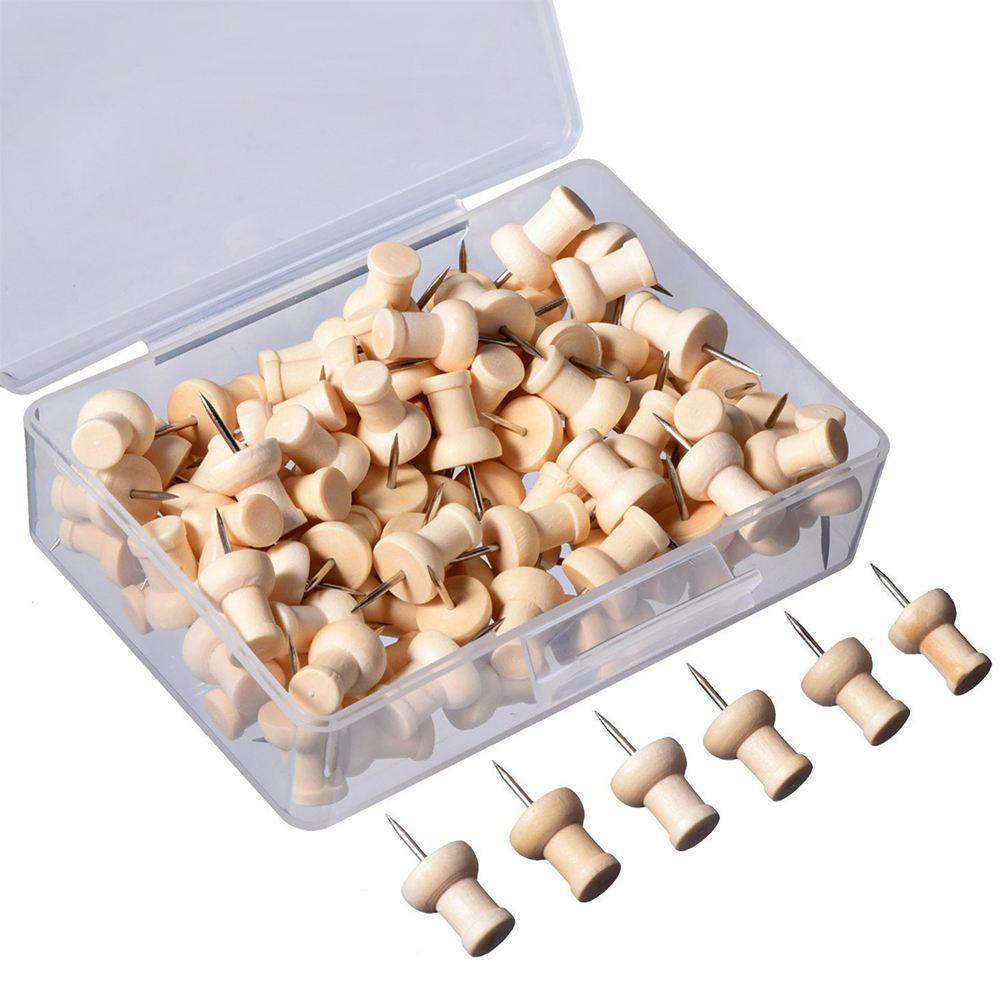 60pcs School Nail Office Photo Wall Craft Push Pin Home Binding Supplies Wooden Thumbtack Decorative With Organizing Container