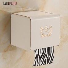 European Antique Aluminium Toilet Roll Paper Holder White Frame Of holder pulling roll Shower Room Box Black