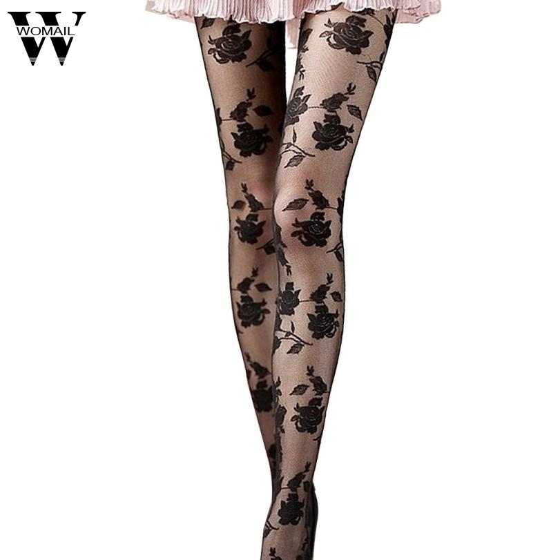 Jan 27 Amazing Spring Summer Rose Sexy Fashion Women Girls Sheer Footed Tights Pantyhose