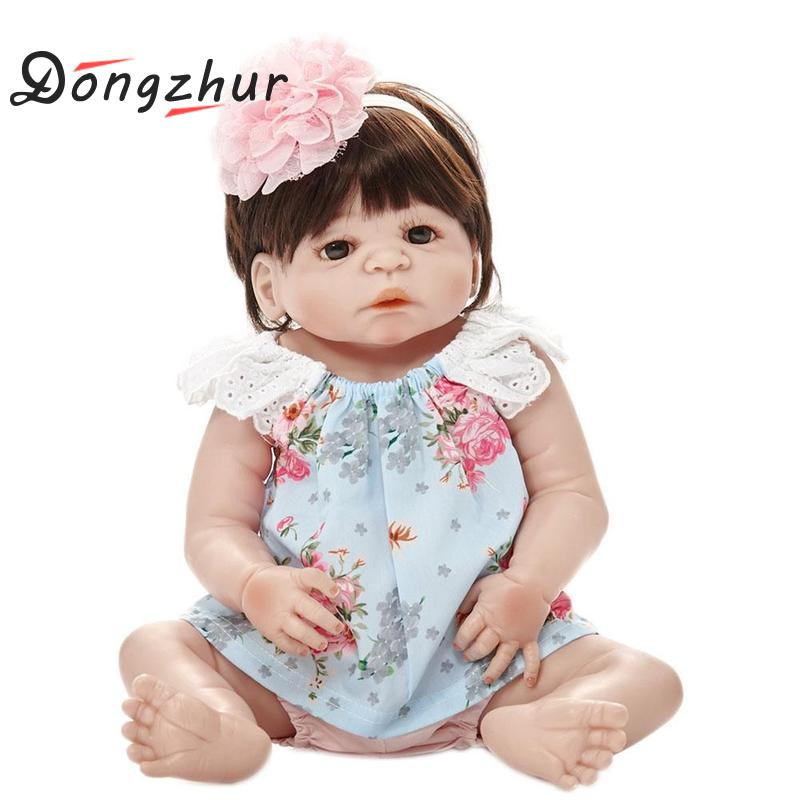 Dongzhur Babe Reborn Girl Doll Full Silicone Reborn Realista Baby Reborn Dolls For Babies Christmas Birthday Gift Toys For Kids цена