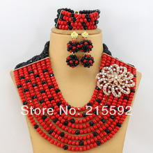 Charms Nigerian Wedding African Beads Jewelry Set 8MM Black&Orange Crystal Beads Necklace Bracelet and Earrings AJS217