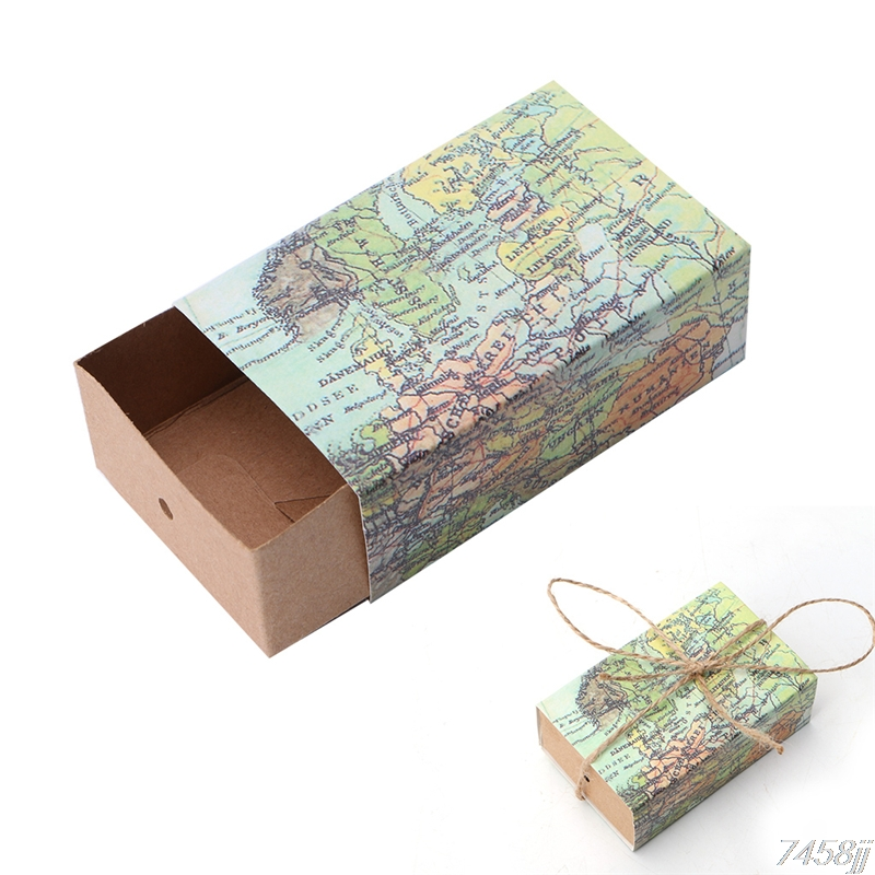 50pcs Novelty World Map Gift Box for Christmas Decorations Kraft Paper Candy Boxes for Guests Wedding Favors Gift Packaging Bag