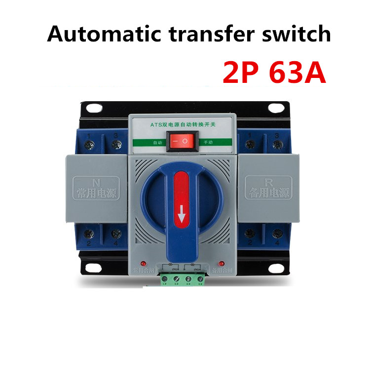 2P 63A 230V MCB type blue color Dual Power Automatic transfer <font><b>switch</b></font> <font><b>ATS</b></font> Rated frequency Rated voltage 220V /380V <font><b>Switches</b></font> image