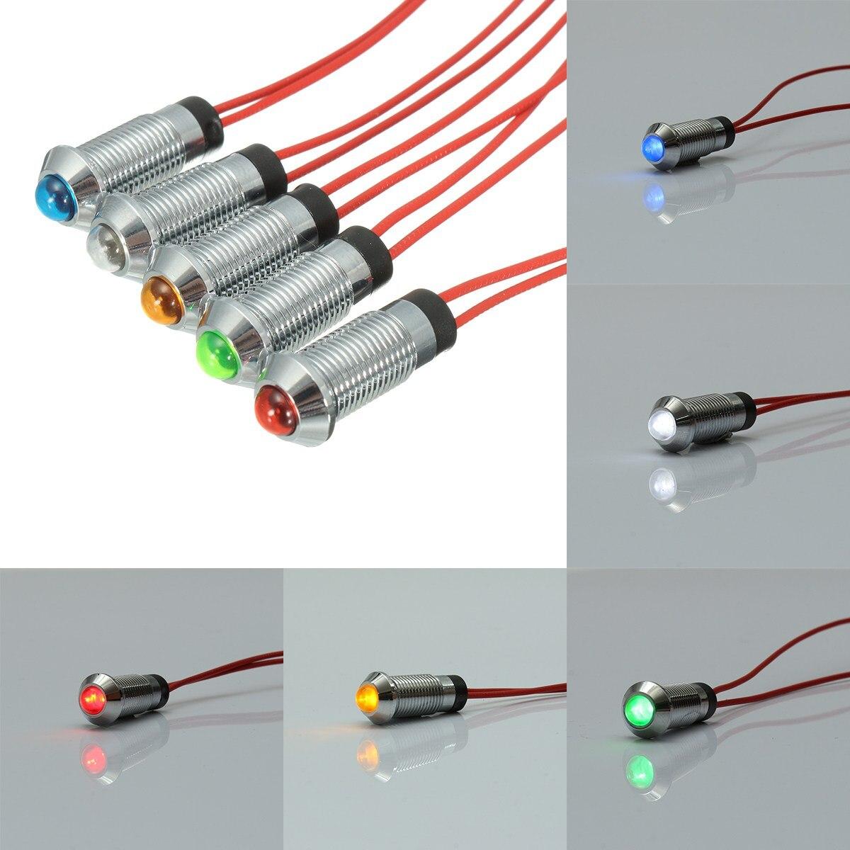 1pcs Metal 12V 8mm LED Panel Pilot Dash Light Indicator Lamp Waterproof IP67 Car Van Boat