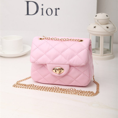New Korea Style Fashion Handbag Cute Kids Children Fashion Brand Princess Party Crossbody Bag With Gold Chain For Baby Girls