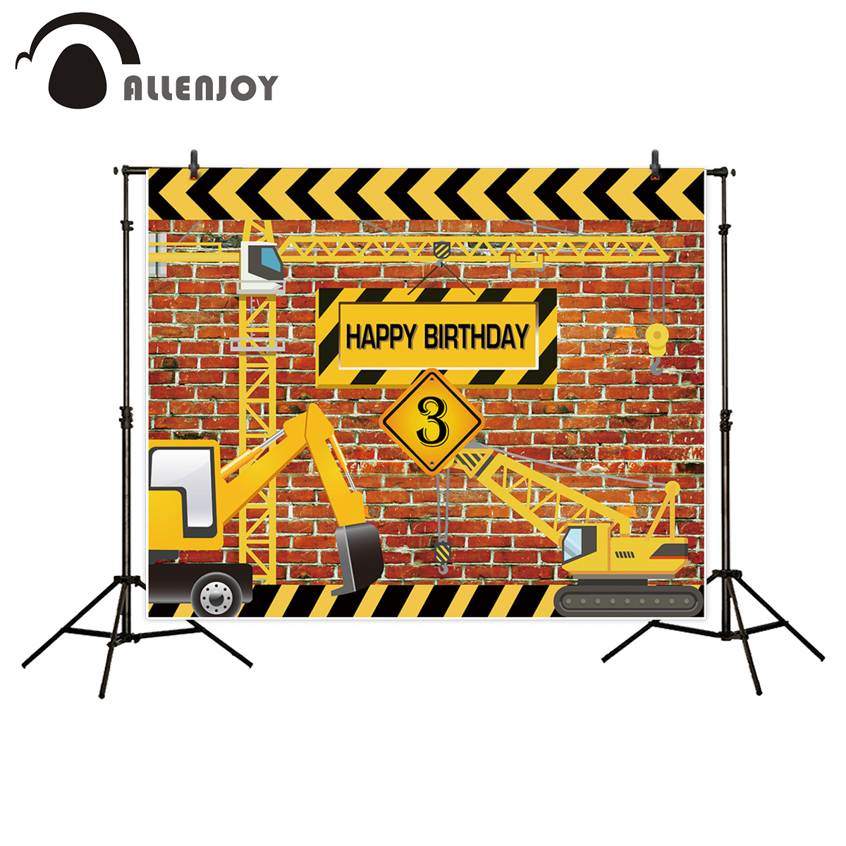 Allenjoy background for birthday photograph Construction Party Banner Decor Brick Wall Backdrop Dump Truck Boy photo studio prop girls birthday backdrops baby shower background black white stripe cosmetic invitation celebration table banner party allenjoy