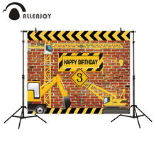 Allenjoy background for birthday photograph Construction Party Banner Decor Brick Wall Backdrop Dump Truck Boy photo studio prop