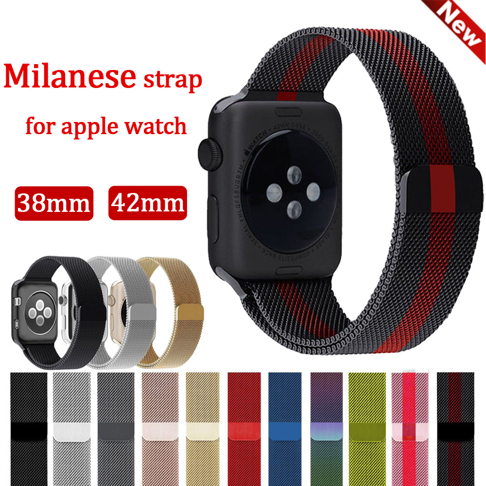 EIMO sport Milanese loop strap for apple watch band 42/38mm Stainless Steel metal Bracelet wrist belt watchband for iwatch3/2/1 eastar milanese loop stainless steel watchband for apple watch series 3 2 1 double buckle 42 mm 38 mm strap for iwatch band