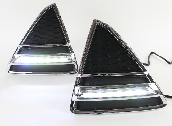 Plating rim led drl daytime running light for Ford focus 2012-13 with guiding light for dimmer control top quality super bright top quality guiding light design led drl daytime running light for citroen c5 2013 2014 super bright fast shipping