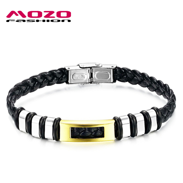 Mozo Fashion Men Casual Bracelet Black Pu Leather Rope Stainless Steel Handmade Bracelets Simple Vintage