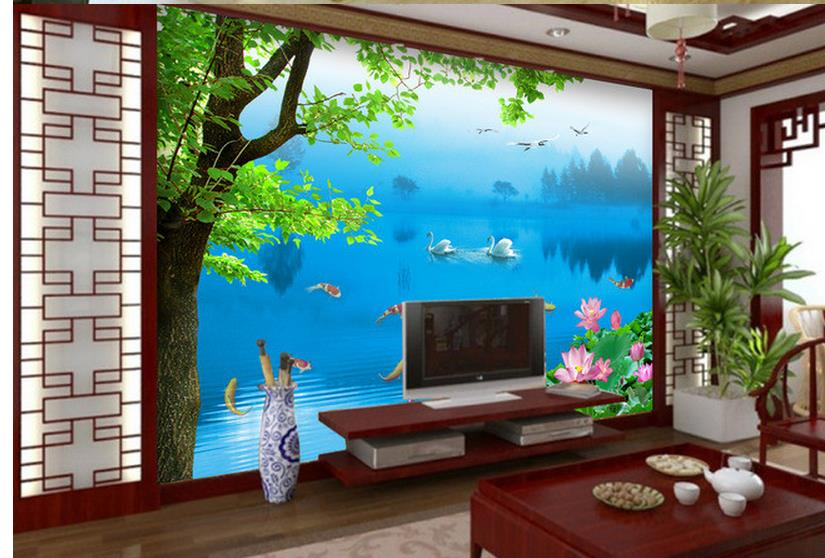 3d Wallpaper For Room Swan Lake On The Backdrop Bathroom 3d Wallpaper Wall  Mural Photo Wallpaper