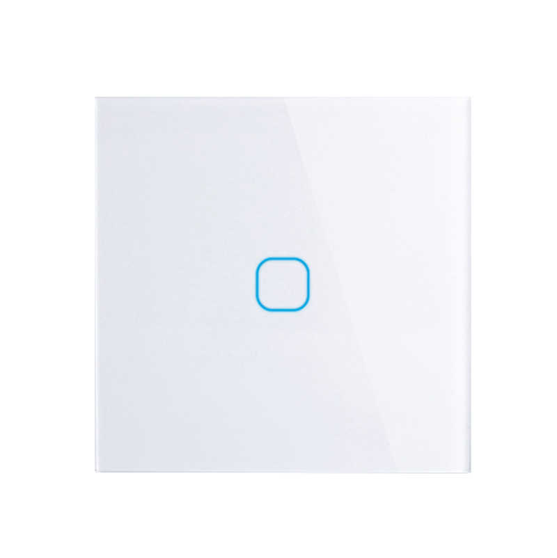 EU Stanard 1 Gang 1 Way Touch Switch White Crystal Glass Panel Touch Switch,  EU Light Wall Touch Screen Switch,AC 170-250V