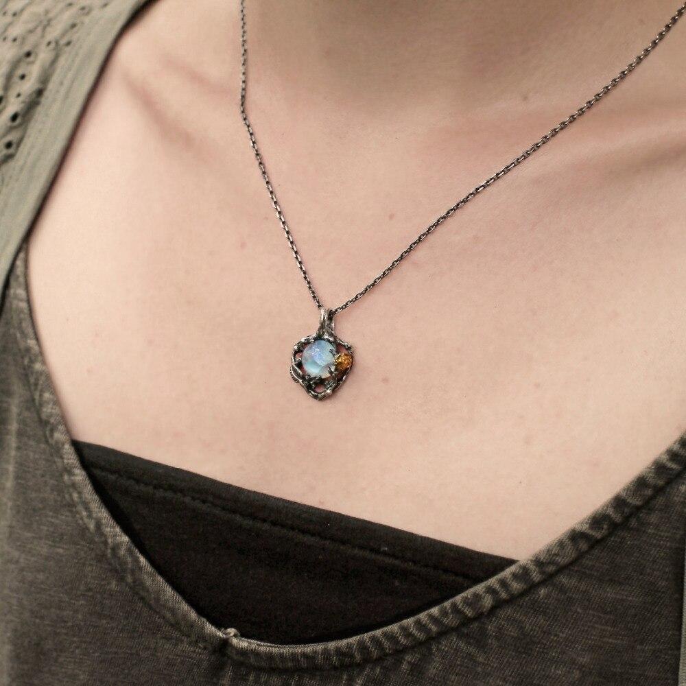 Кулон с натуральным лунным камнем, креативное ожерелье с розой в европейском и американском ретро стиле с листьями