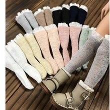 1/6 BJD кукольные чулки, носки для Blythe Azone Licca Obitsu Momoko, аксессуары для куклы, вязаные хлопковые кукольные чулки с кружевом, 1 пара