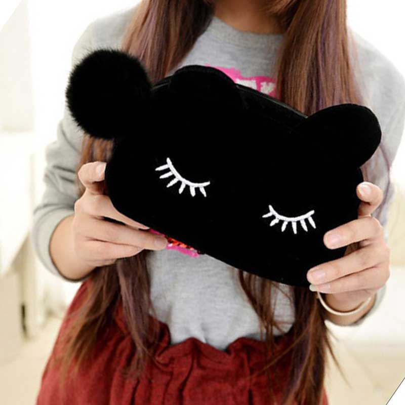 Cartoon <font><b>Kawaii</b></font> <font><b>Pencil</b></font> <font><b>Case</b></font> Cute Cat Plush <font><b>Big</b></font> Large <font><b>Pencil</b></font> Bag For Girls Kids Children Office <font><b>School</b></font> Supplie Stationery image