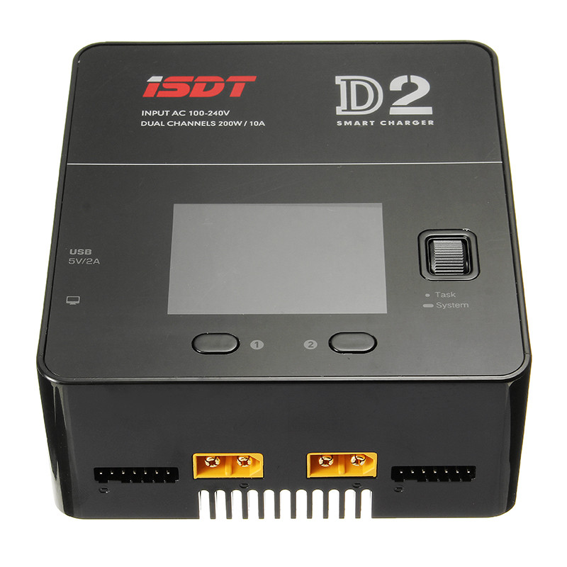 ISDT D2 200W 20A AC Dual Channel Output Smart Lipo Battery Balance Balancing Charger For RC Toys Charging VS T8 SC 620