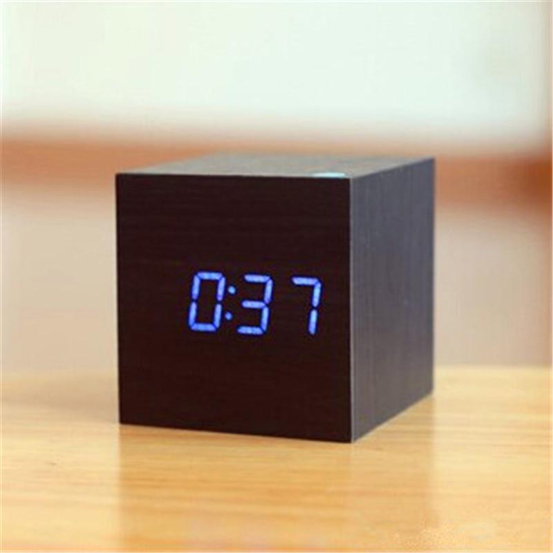 Mini mignonne Led réveil en bois Réveil lumière horloge externe - Décor à la maison - Photo 4