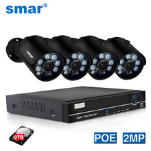 Smar H.265 4CH 1080P HDMI POE NVR Kit CCTV Security System 2MP IR Outdoor IP Camera Metal P2P Video Surveillance Set 2TB HDD keeper h 265 full hd 1080p 8channel cctv system 8pcs 2mp metal outdoor ip camera 8ch 1080p poe nvr cctv kit hdmi p2p email alarm