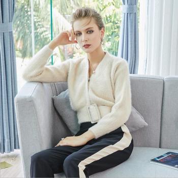 411ea0b73506 2018 invierno mujeres angora conejo cardigans suéter albaricoque suelto  casual con cuello en V mantener el calor