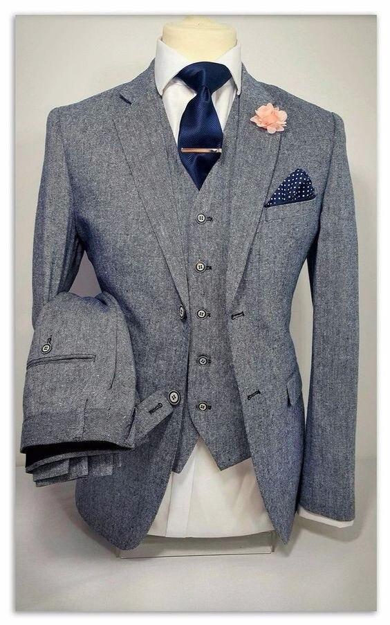 2017 Ultimi Disegni Del Cappotto Della Mutanda Grigio Tweed Uomo Vestito Convenzionale Skinny Blazer Masculino Personalizzato Alla Moda Uomo Tuxedo 3 Pezzo Terno H65