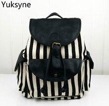 Лидер продаж Повседневная Mochila холст женщины рюкзак полосы печати большой Ёмкость школьный рюкзак ноутбук сумка для подростка