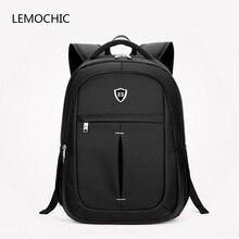 Lemochic Новые Fashion водонепроницаемый дорожные сумки деловые мужчины Mochila компьютер рюкзак Повседневная сумка на молнии Оксфорд школьная сумка