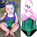 Baby Mermaid Costume Bodysuit Swimwear Triangle Kids Swimwear for Girls one Piece Bathing Suit Mermaid Cosplay Swimwear Headwear