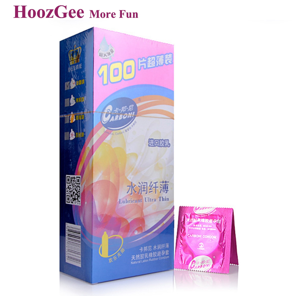 HoozGee Carboni Condoms Extra Safe Ultra-thin Large Oil Excellent Comfortable Latex Condom for Men Sex Toy Products 100pcs/lot