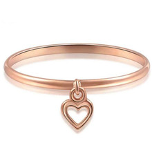Genuine 18K Real Gold Finger Ring With Rose Color Heart Charms for Women Wedding 100% Pure Jewelry