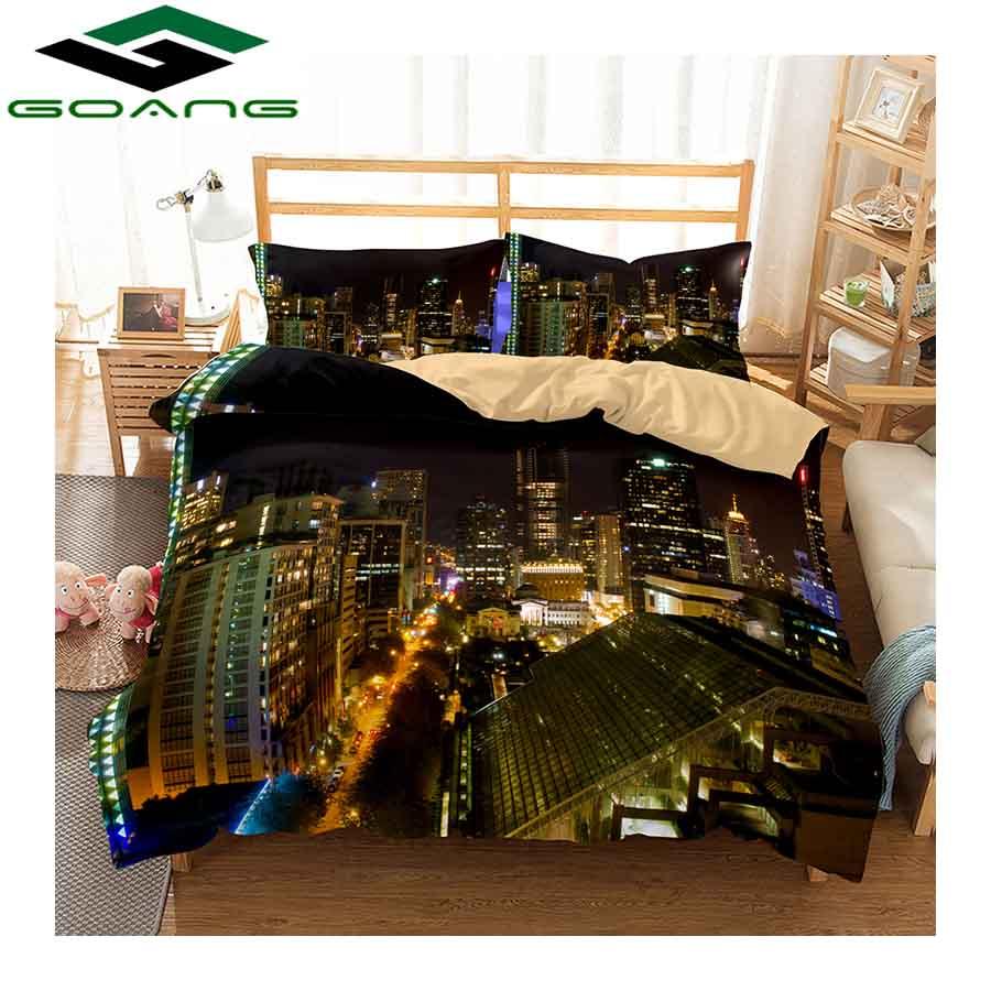 GOANG Bedding Set 3d Digital Printing City Night Scenery Bed Linen Duvet Cover Bed Cover Pillow Case 3pcs King Size Bedding Set