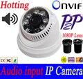 Entrada De Áudio 1.3mp 2.0mp 1280*720 P 1.0MP DOME IP Câmera Night Vision ONVIF P2P Câmera de segurança De vigilância por Vídeo 1080 P Lente
