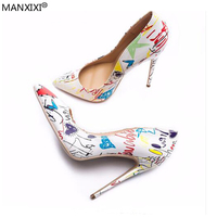 2018 new style Women's pumps sexy Blue shoe Women super high heels mixed color flower party Female pointed toe shallow slip on