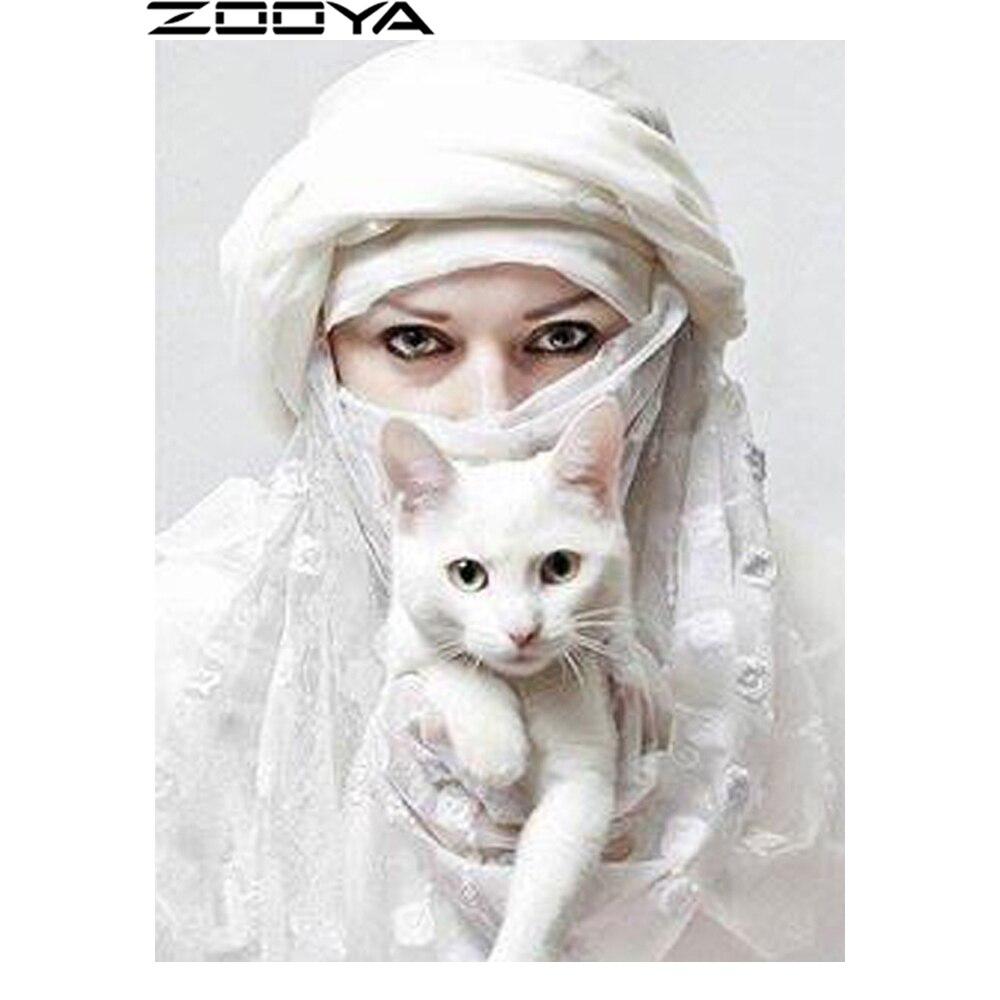 ZOOYA 5d DIY Diamond Painting Mosaic Woman White Cat Diamond Embroidery Needlework Rhinestone Pasted Cross Stitch Gifts R1113