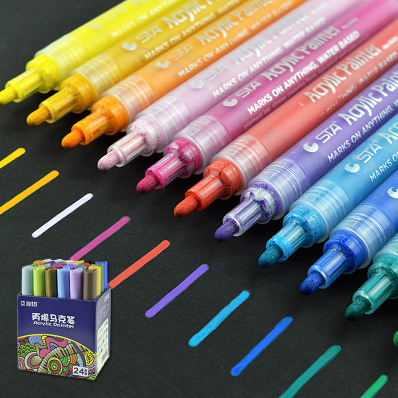 12 24color acrylic paint marker pen watercolor paint for Using fabric paint on glass