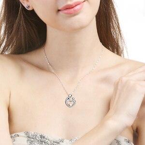 Image 5 - SG 925 ayar gümüş anne çocuk kolye el kalp şekilli kolye kolye aşk aile moda takı hediye