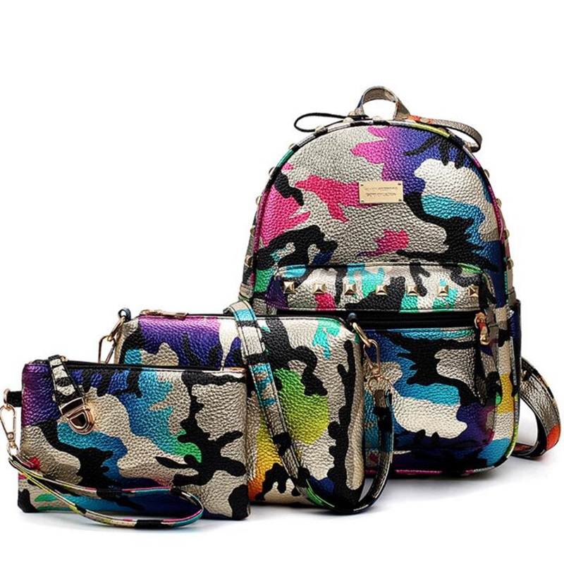 Camouflage Backpack Three-Piece Set Composite Bag School Bags For Girls Women Leather Printing Travel Backpacks Mochila Escolar vintage casual leather travel bags famous brand school backpacks women bag mochila backpack lovely girls school bags ladies bag