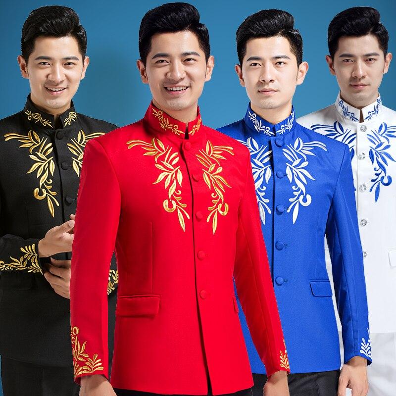 (Kurtka + spodnie) chiński sukienka haftowane kostium kołnierz Nakayama, Kio przewodniczył strój narodowy etap emcee piosenkarka w Garnitury od Odzież męska na  Grupa 2