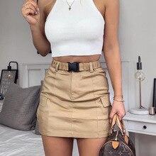 Летняя Сексуальная мини-юбка с ремнем и пряжкой, посылка на бедрах, женские облегающие вечерние юбки цвета хаки с карманами для тренировок и офиса
