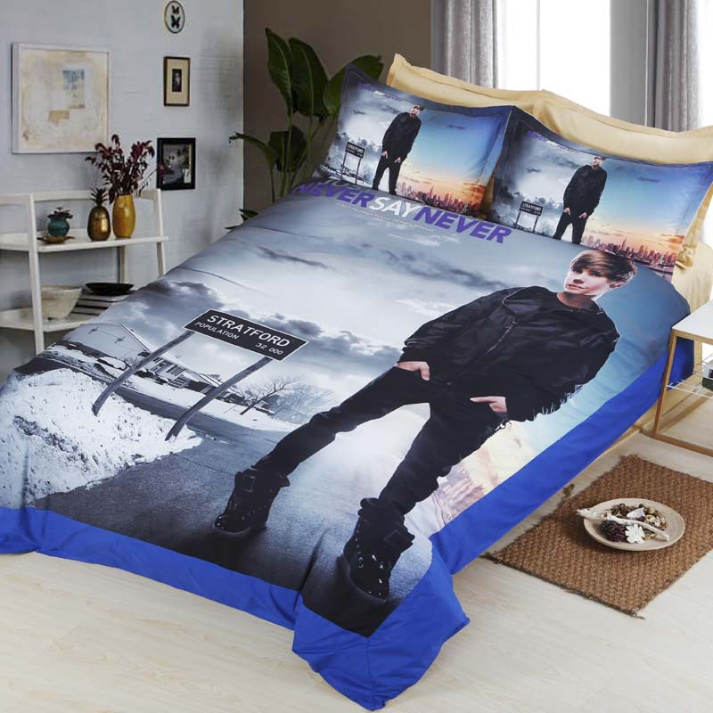 Dream Ns Justin Bieber Bedding Set Soft Fiber Flat Sheet Duvet Cover Sets Famous Singer King Queen Size Double Bed Bedclothes In From Home