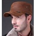 HL019 couro genuíno boné de beisebol/chapéu dos homens brand new inverno quente exército Russo militar caps/chapéus com ouvidos