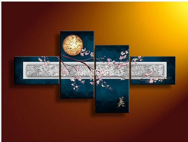 4 Piece Wall Art Modern Abstract Sakura Oil Painting On Canvas Large Cheap Fast Home Goods