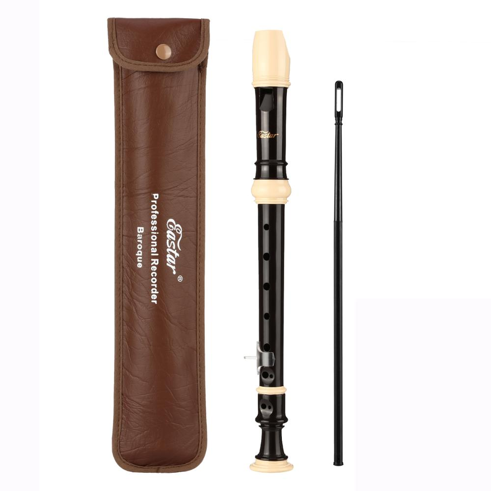 ABS Soprano Recorder Instrument Baroque Style Key Of C 8 Hole Long Flute Student Musical Education With Leather Bag Clean Tool