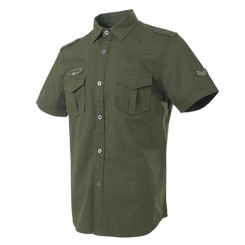 New Arrivals dropship verde Roupas camisa masculina militar pesado camisas de algodão slim fit manga curta de alta qualidade da marca para os homens