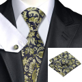 Nueva Hot Mens Corbata Verde Oscuro Floral Corbata Para Los Hombres Wedding Party Supplies Corbata Hanky Gemelos Set Negocio C-1097