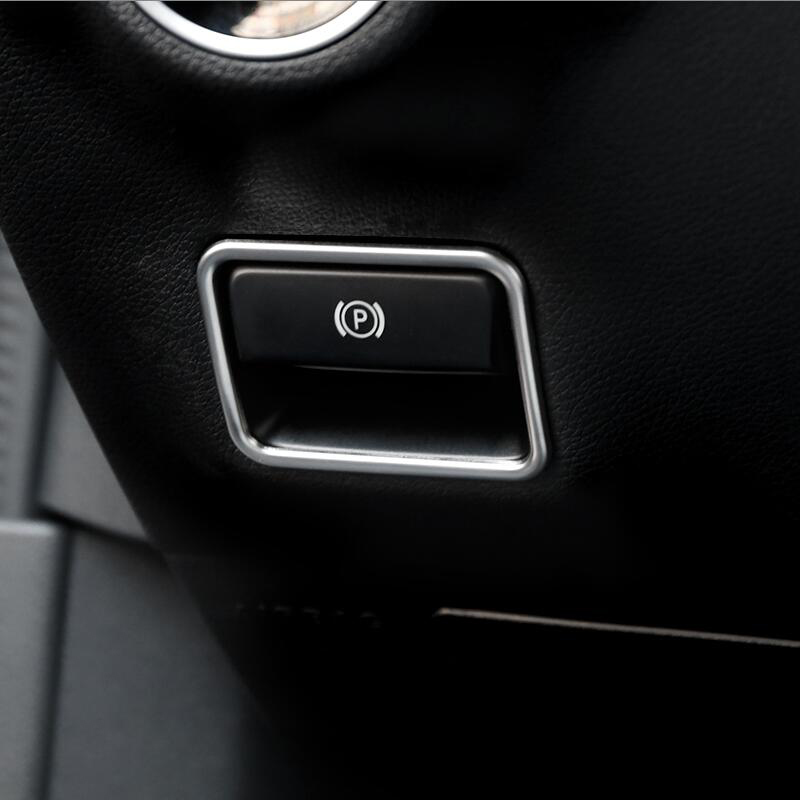 Car styling font b Interior b font Electronic Handbrake frame Cover Trim Sticker for Mercedes Benz