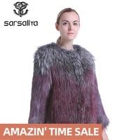 SARSALLYA real fur coat fashion Knitted natural Knitted Raccoon Dog Fur coat women fox fur coats fox vest
