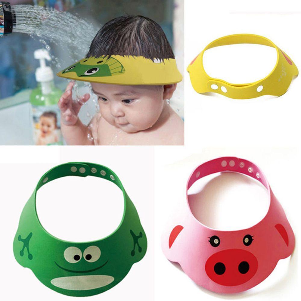 Купить с кэшбэком New Arrival Lovely Adjustable Baby Hat Toddler Kids Shampoo Bathing Shower Cap Wash Hair Visor Caps For Baby Care